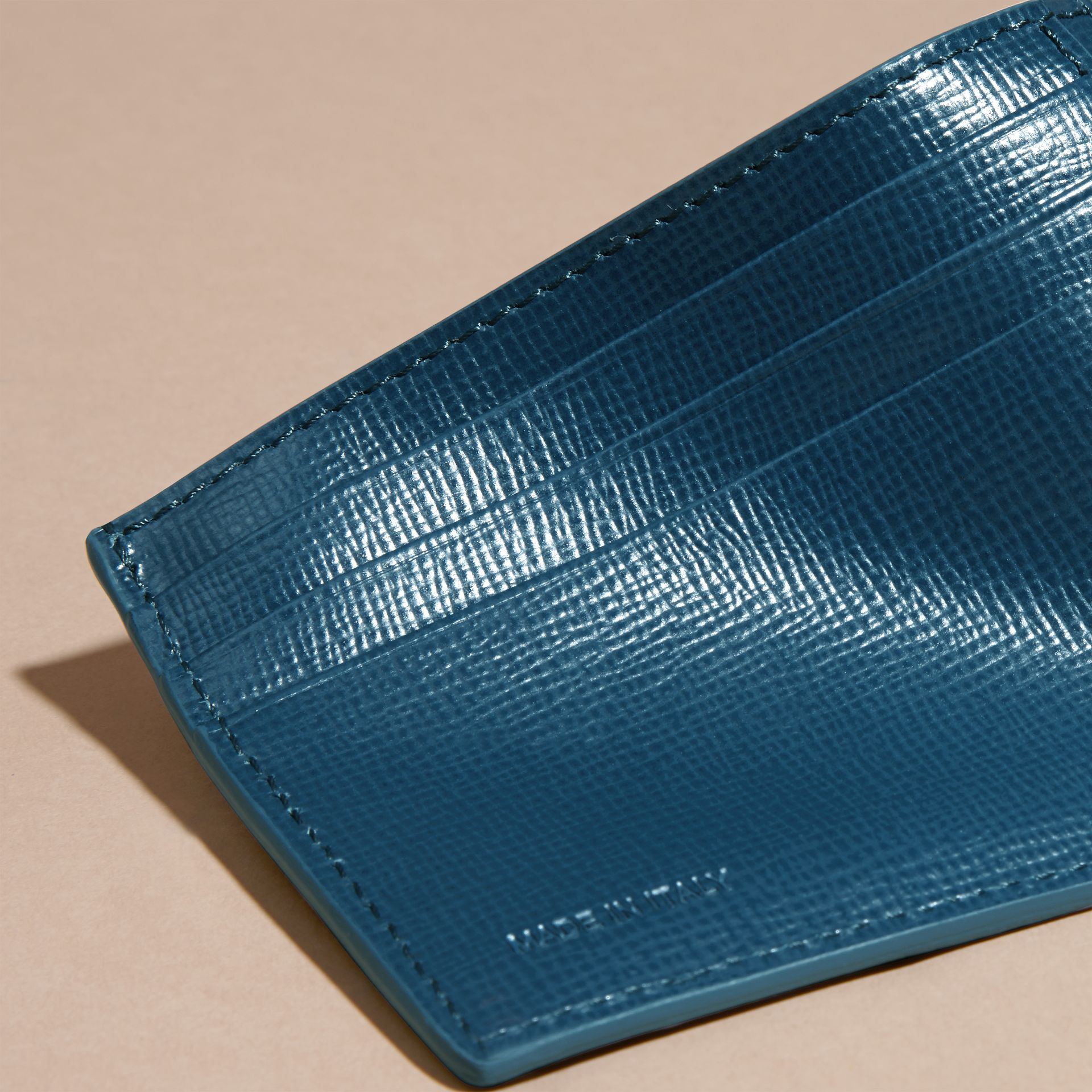 Mineral blue London Leather Card Case Mineral Blue - gallery image 3