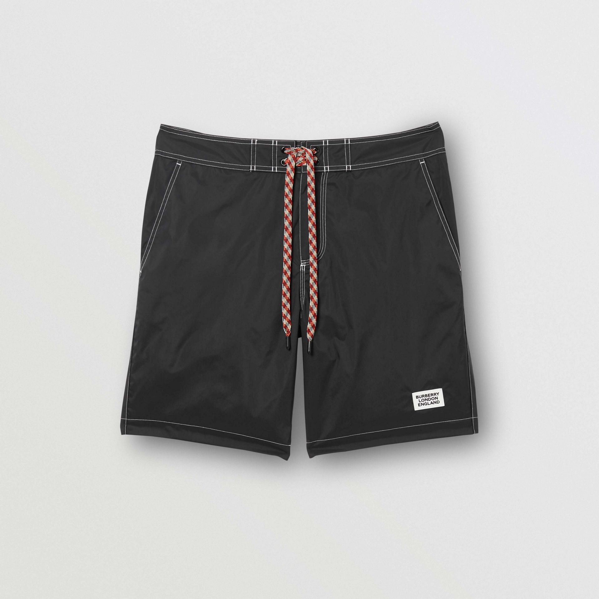 Logo Print Drawcord Swim Shorts in Black | Burberry Australia - gallery image 2
