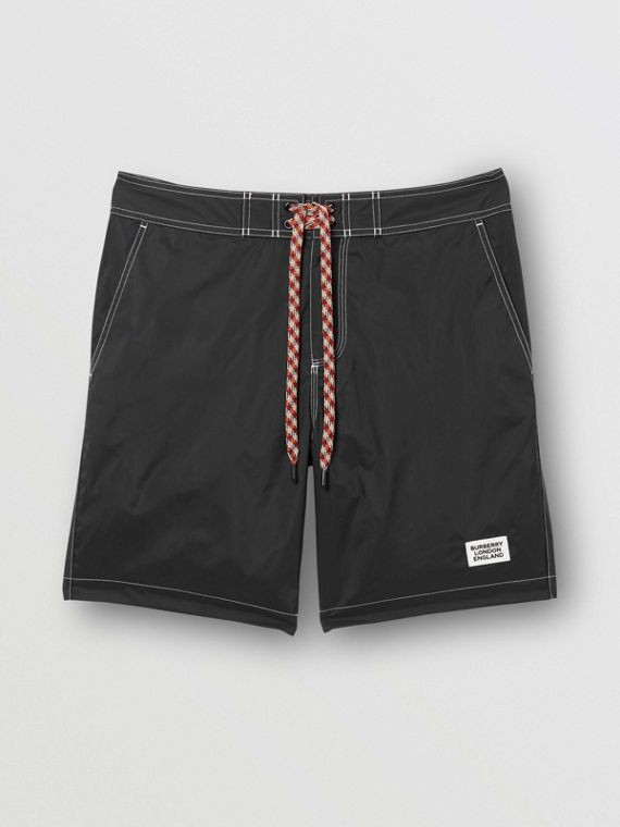 Logo Print Drawcord Swim Shorts in Black