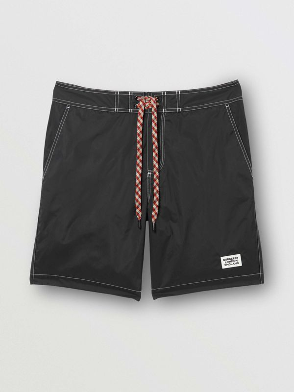 Logo Print Drawcord Swim Shorts in Black | Burberry - cell image 2