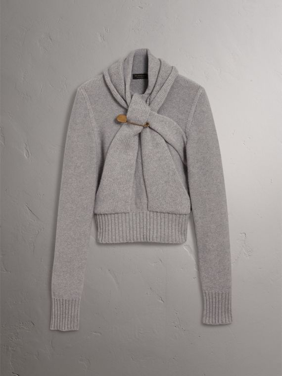 Cashmere Tie-neck Sweater in Pale Grey Melange - Women | Burberry United Kingdom - cell image 3