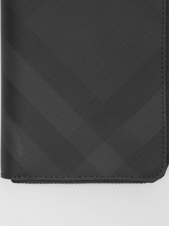 London Check and Leather Ziparound Wallet in Dark Charcoal - Men | Burberry United Kingdom - cell image 1