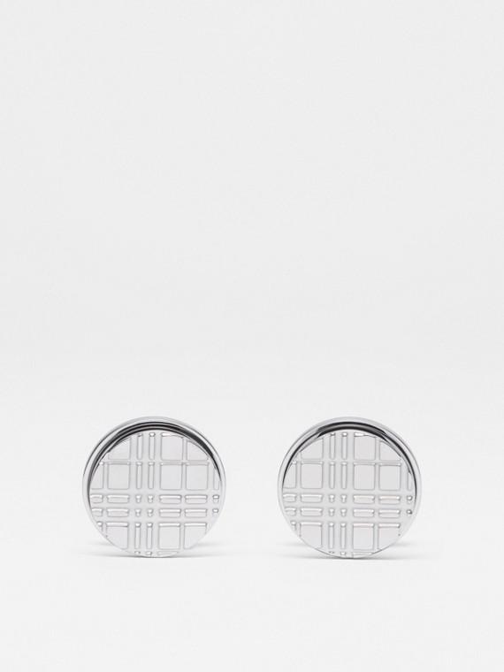 Gemelli tondi placcati in palladio con motivo tartan inciso (Argento)