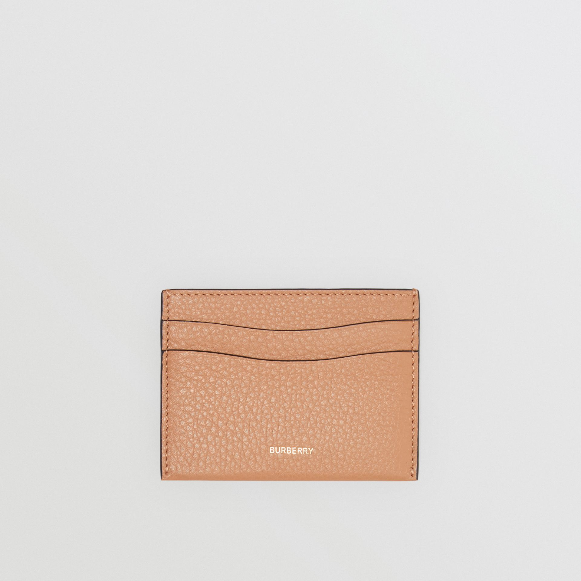 Grainy Logo Leather Card Case in Light Camel - Women | Burberry - gallery image 0