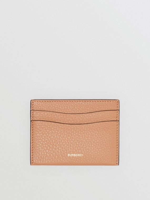 Grainy Logo Leather Card Case in Light Camel