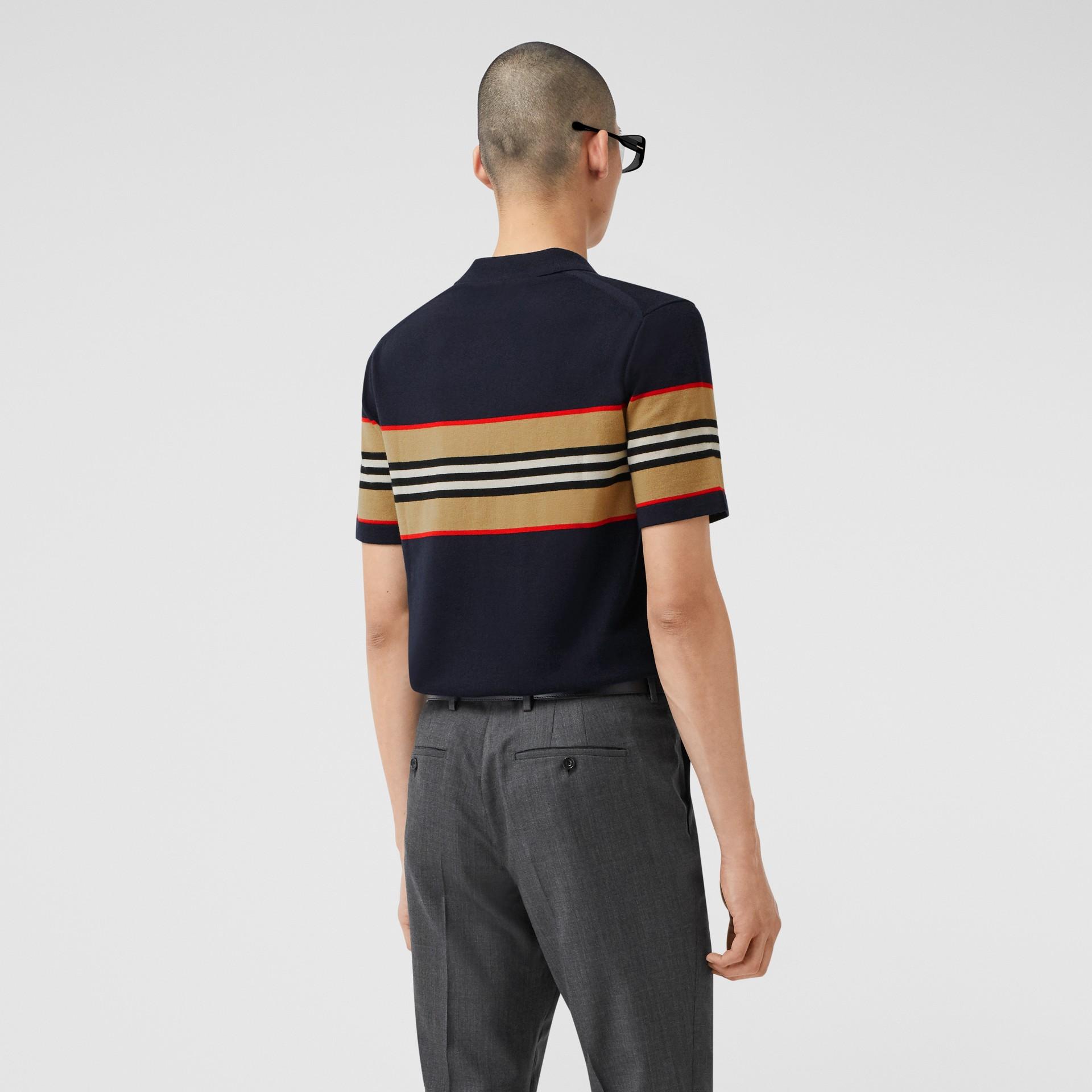 Icon Stripe Detail Merino Wool Polo Shirt in Navy - Men | Burberry - gallery image 2