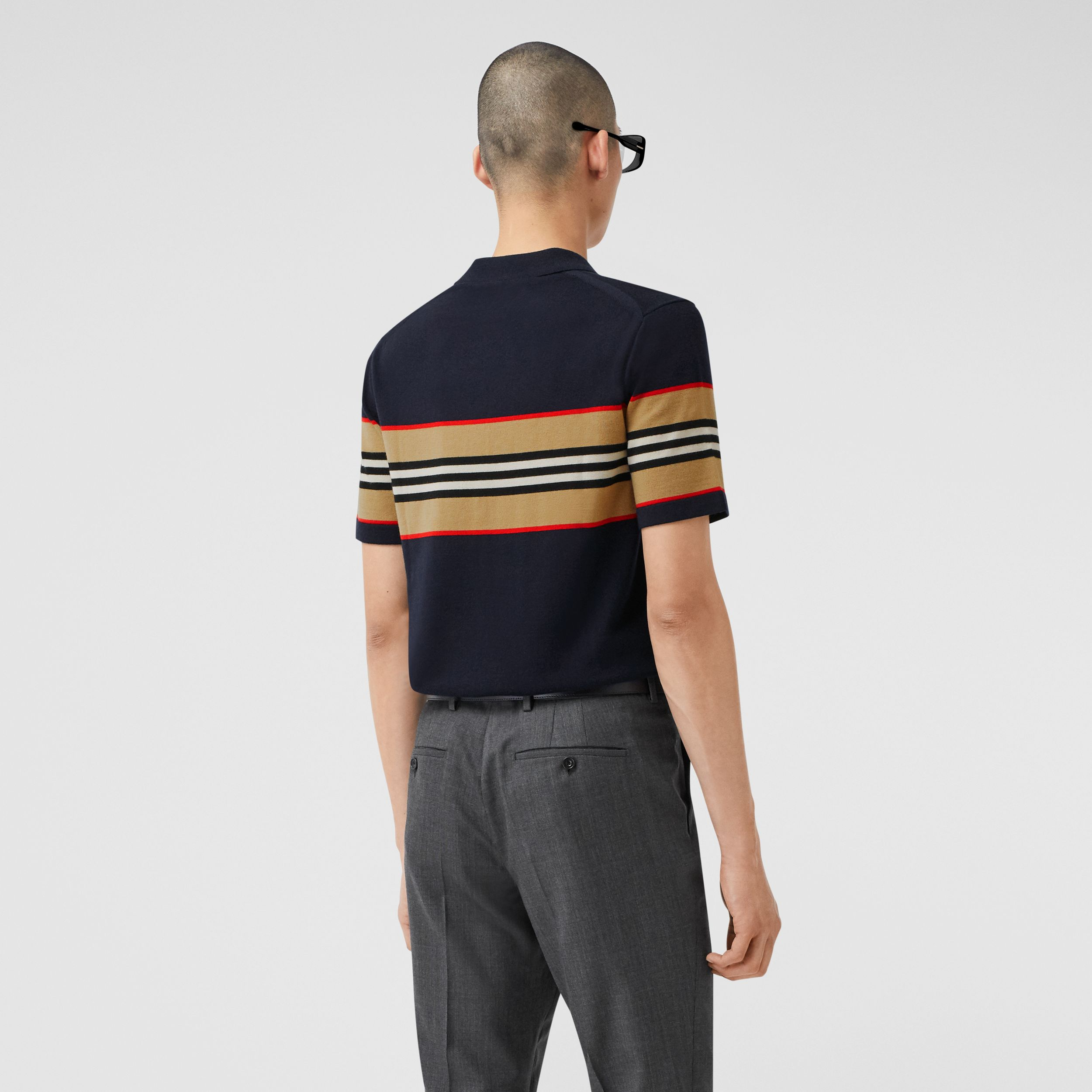 Icon Stripe Detail Merino Wool Polo Shirt in Navy - Men | Burberry - 3