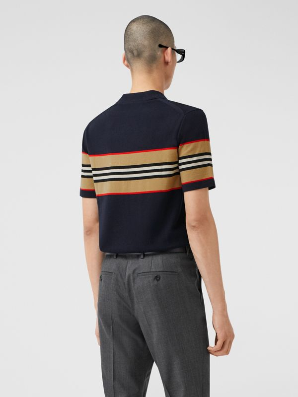 Icon Stripe Detail Merino Wool Polo Shirt in Navy - Men | Burberry - cell image 2