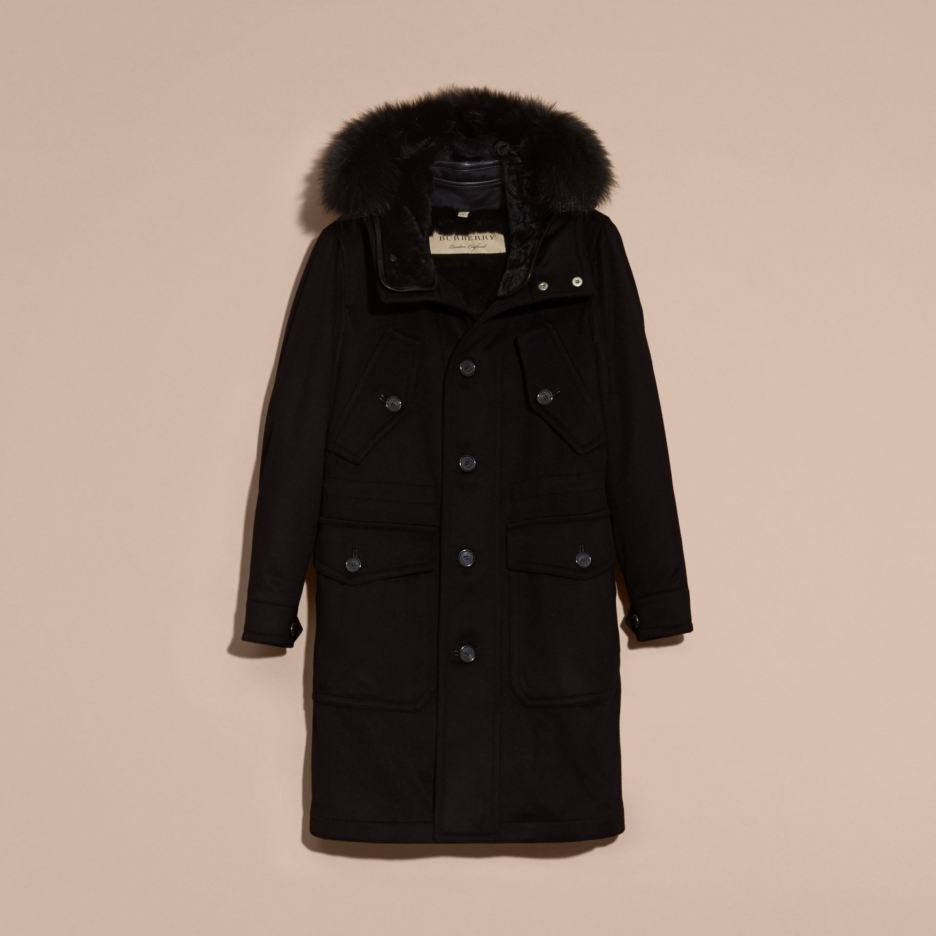 Black Fox and Shearling Trim Cashmere Parka with Fur Liner - gallery image 4