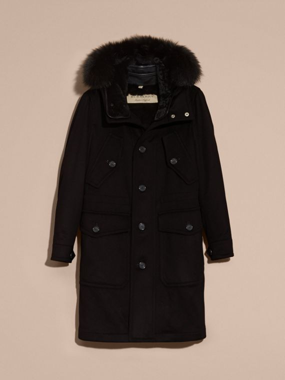 Black Fox and Shearling Trim Cashmere Parka with Fur Liner - cell image 3