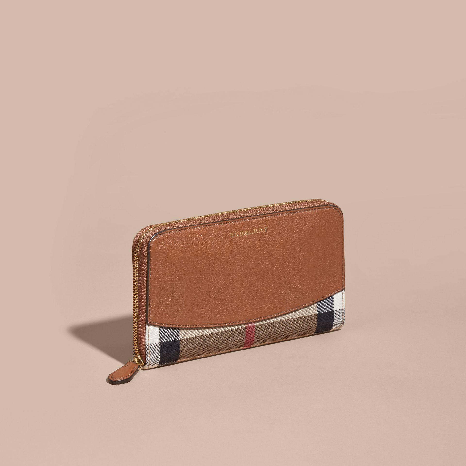 House Check and Leather Ziparound Wallet Brown Ochre - gallery image 6