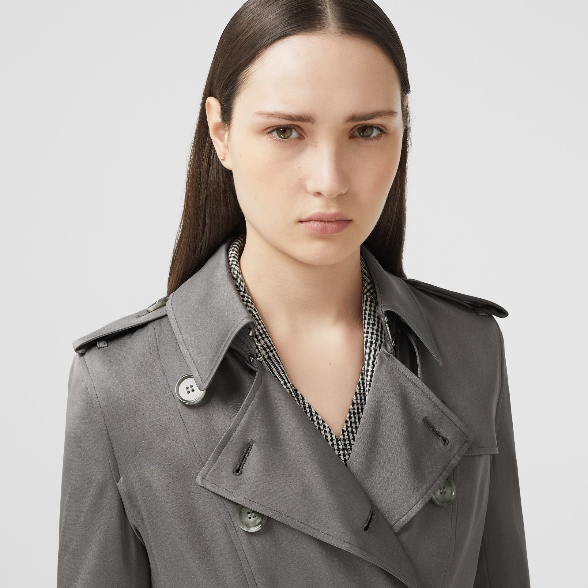 Silk Trench Coat in English Grey - Women | Burberry Singapore - gallery image 1