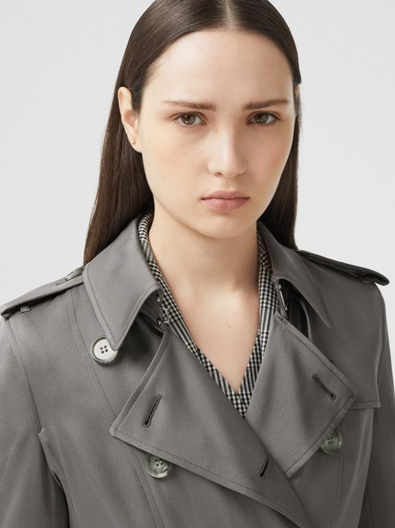 Silk Trench Coat in English Grey - Women | Burberry - cell image 1