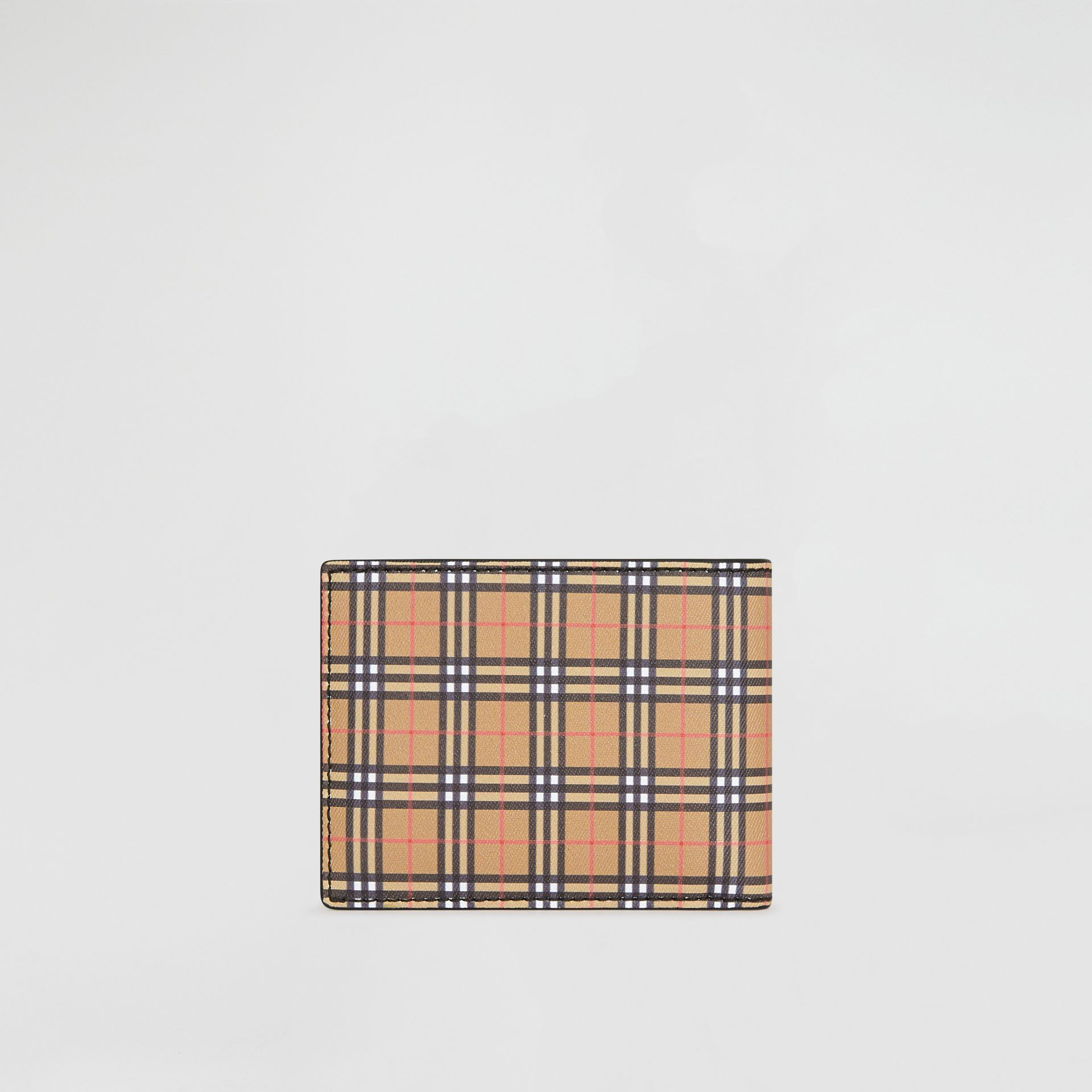 Small Scale Check and Leather Bifold Wallet in Antique Yellow/black - Men | Burberry Singapore - gallery image 5