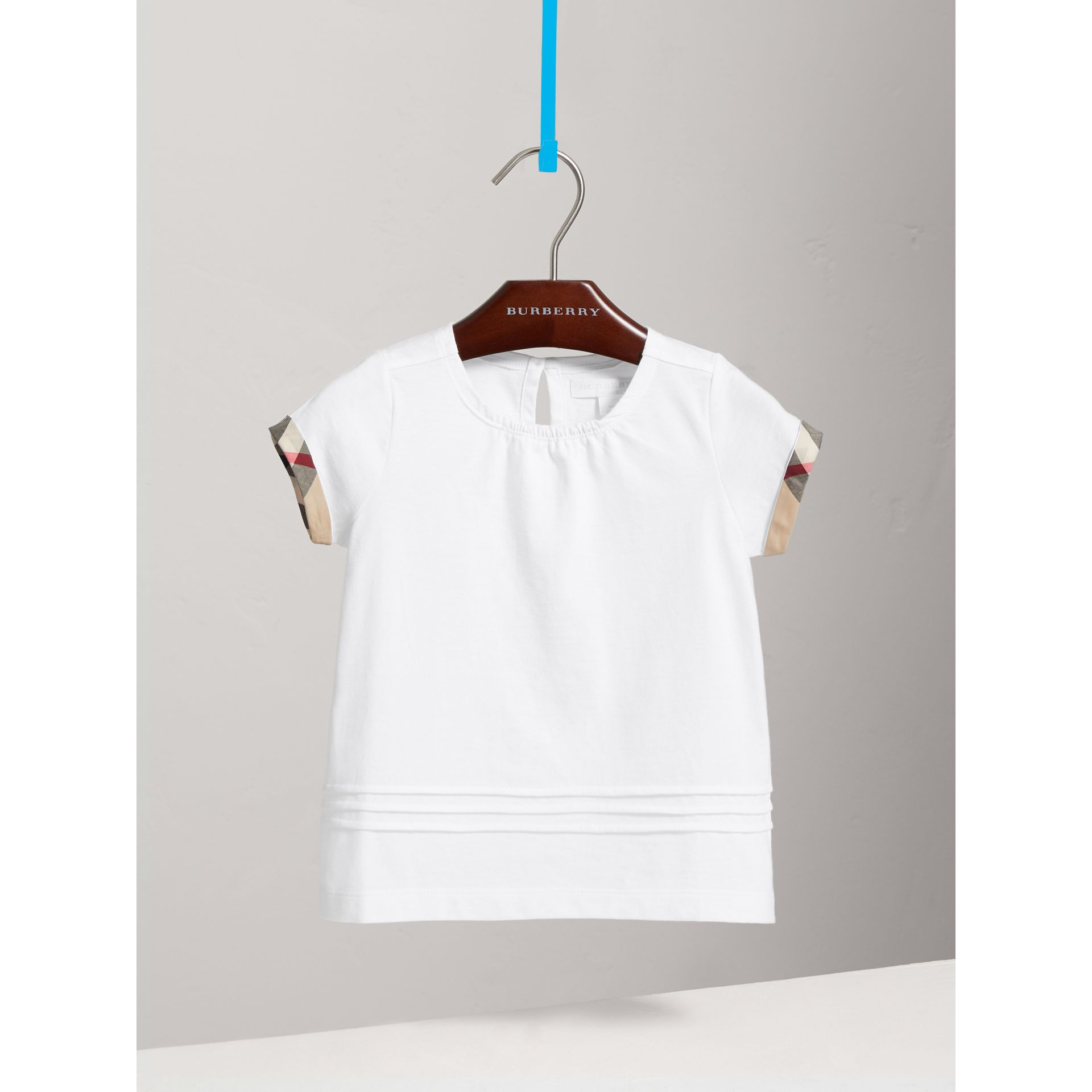 Pleat and Check Detail Cotton T-shirt in White - Girl | Burberry Canada - gallery image 0