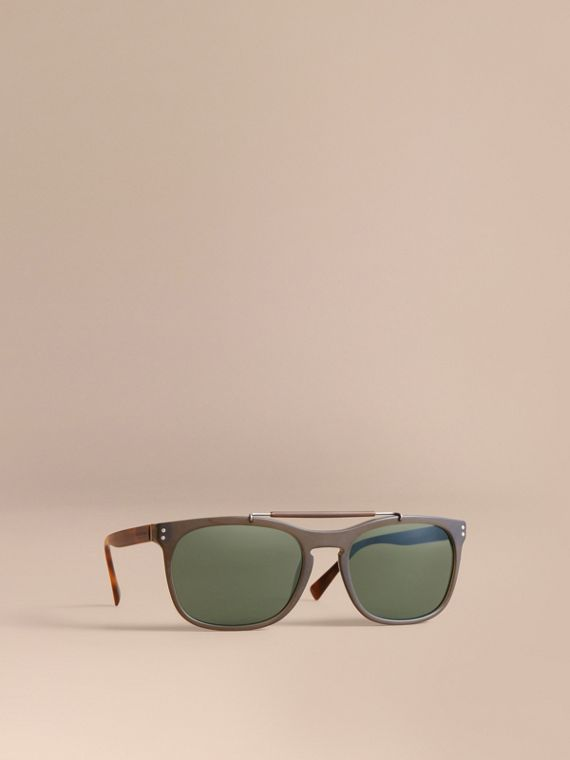 Top Bar Square Frame Sunglasses in Olive - Men | Burberry Singapore