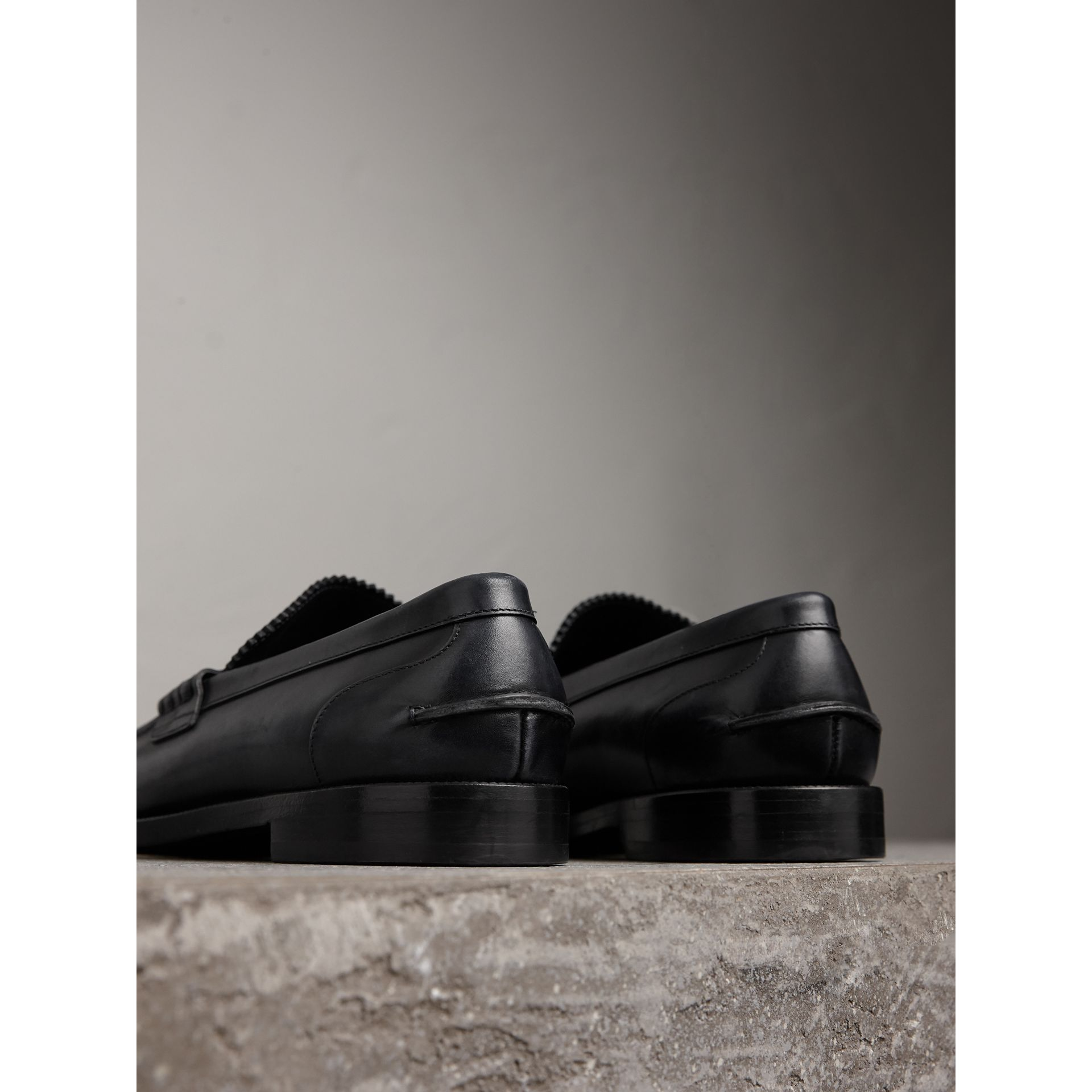 Leather Penny Loafers in Black - Men | Burberry United States - gallery image 3