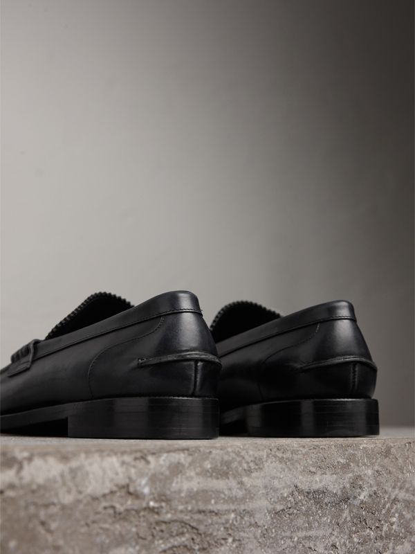 Leather Penny Loafers in Black - Men | Burberry Australia - cell image 3