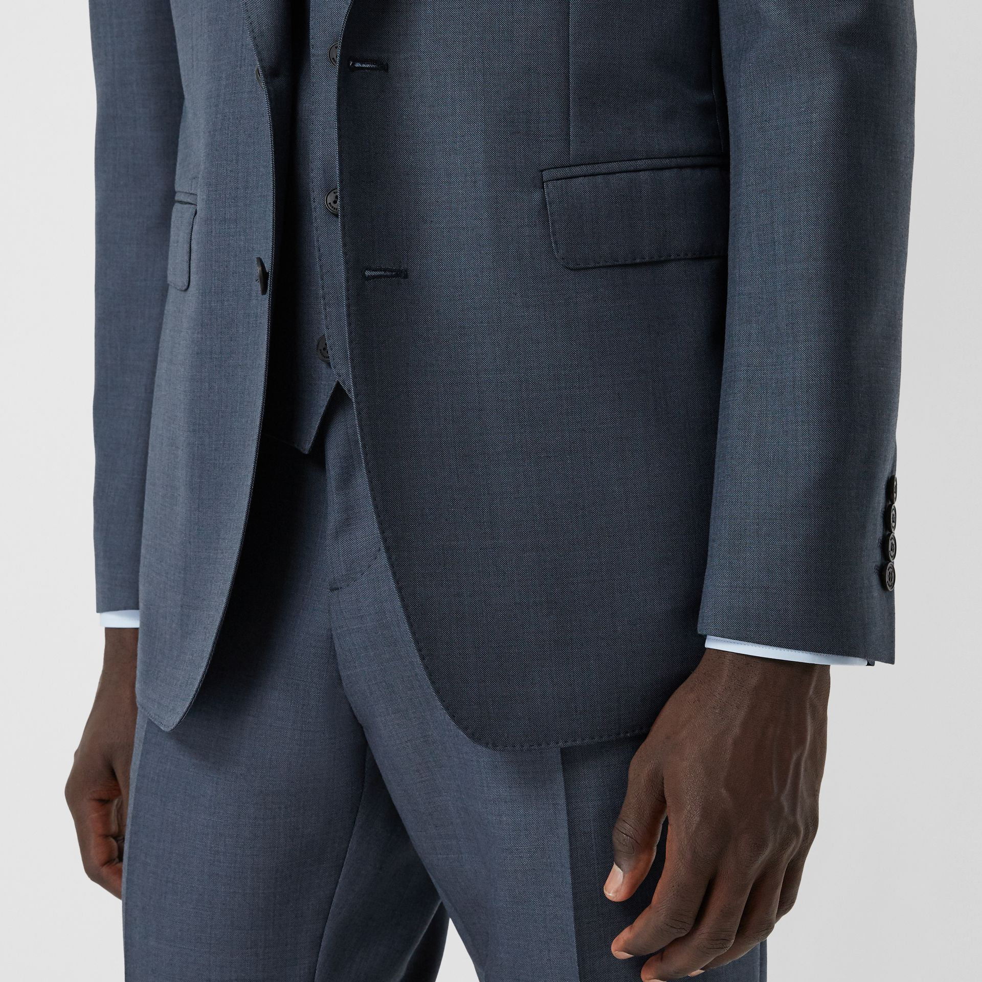 Classic Fit Wool Mohair Blend Three-piece Suit in Steel Blue - Men   Burberry United States - gallery image 3