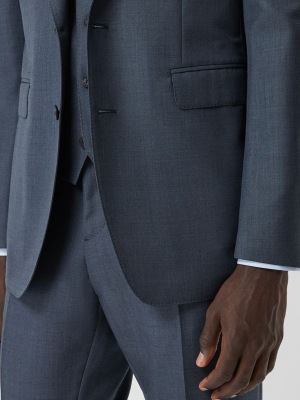 Classic Fit Wool Mohair Blend Three-piece Suit in Steel Blue - Men   Burberry United States - cell image 3