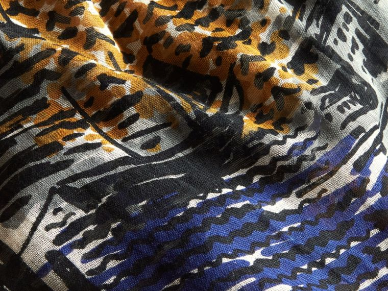 British Seaside Print Cotton Cashmere Scarf Bright Navy - cell image 1