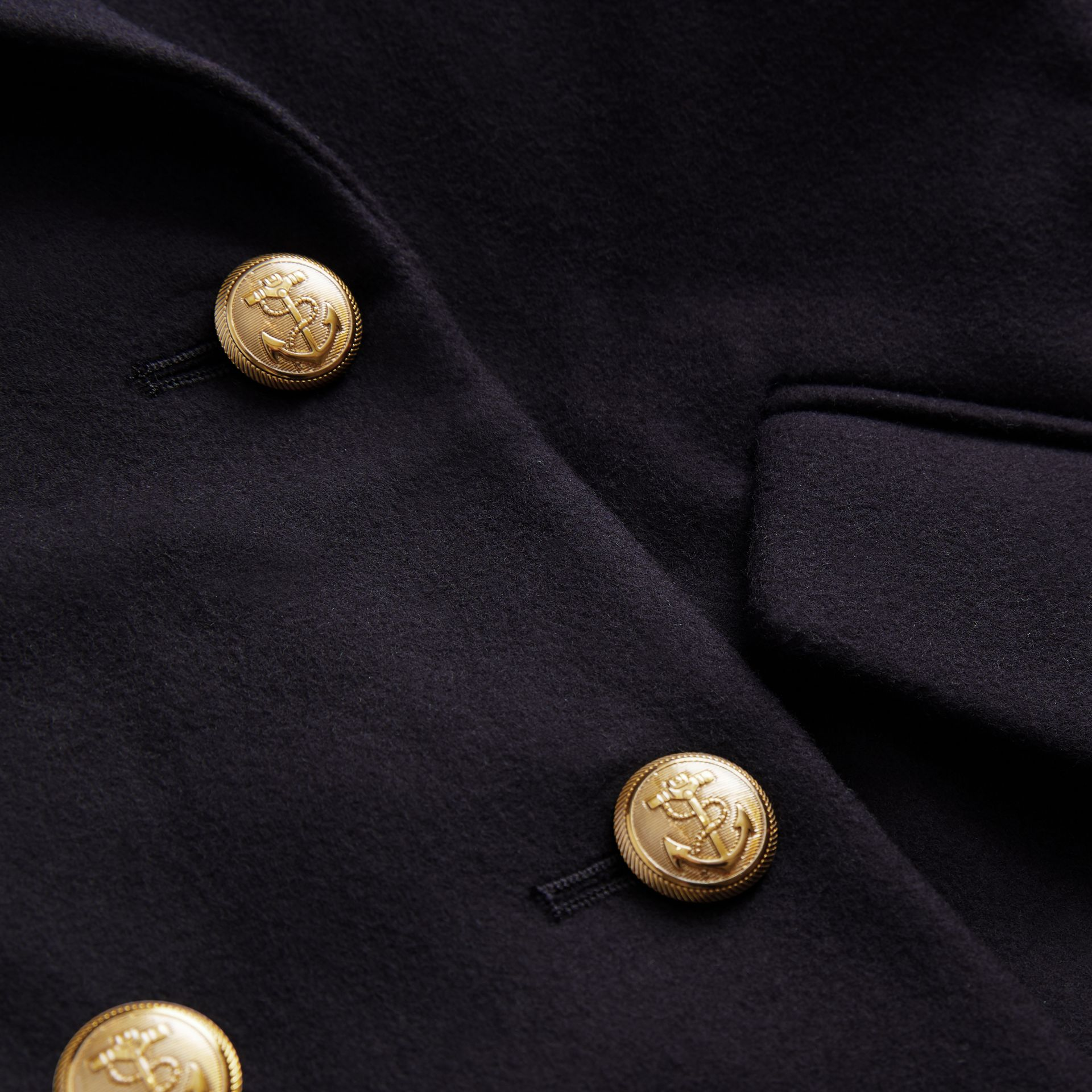 Crested Button Wool Pea Coat in Navy | Burberry - gallery image 1