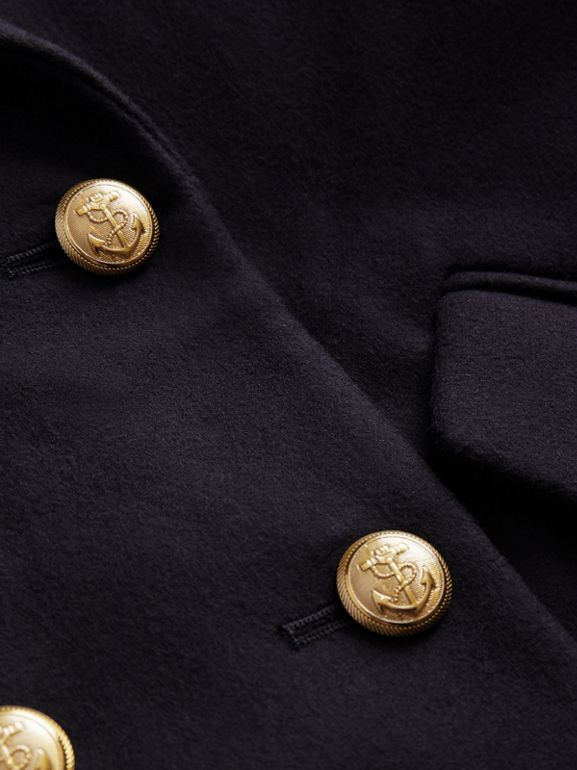 Crested Button Wool Pea Coat in Navy | Burberry Singapore - cell image 1