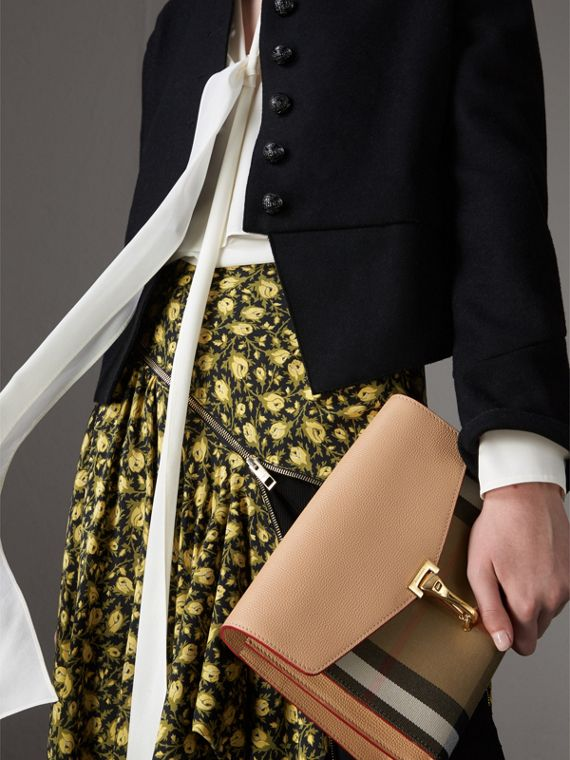 Small Leather and House Check Crossbody Bag in Pale Apricot - Women | Burberry Singapore - cell image 2