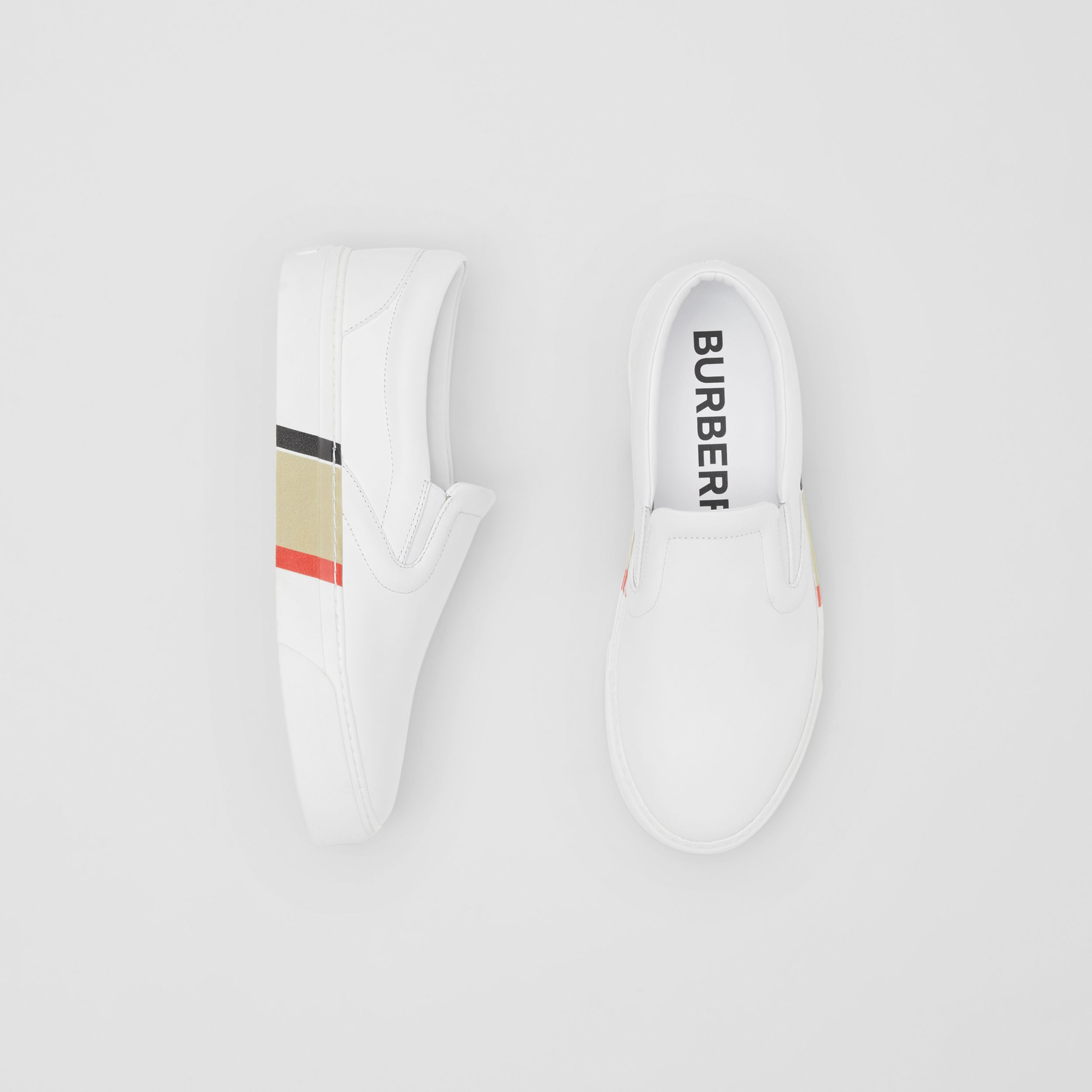 Bio-based Sole Leather Slip-on Sneakers in Optic White - Women | Burberry Hong Kong S.A.R. - 1
