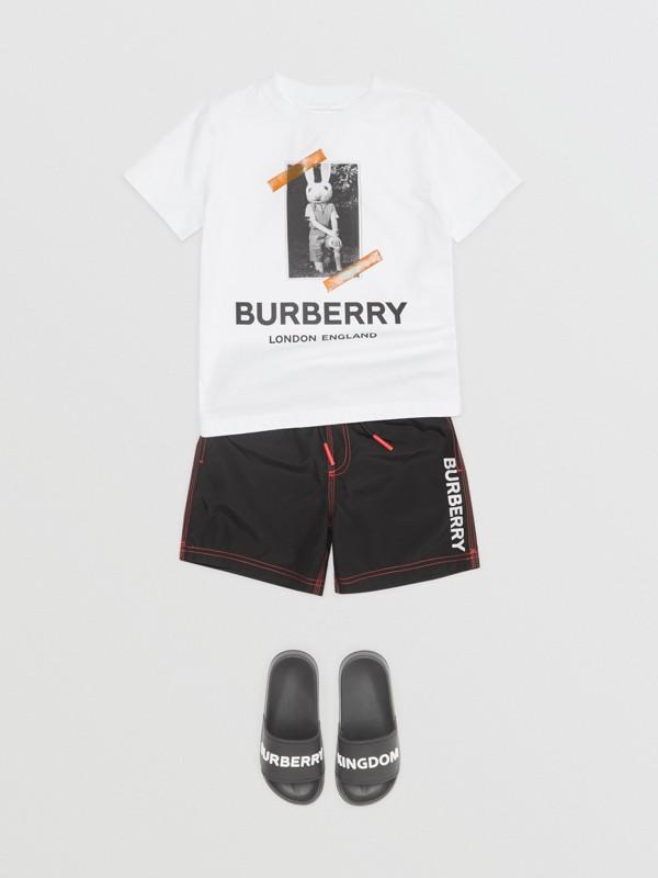 Logo Print Drawcord Swim Shorts in Black | Burberry United Kingdom - cell image 2