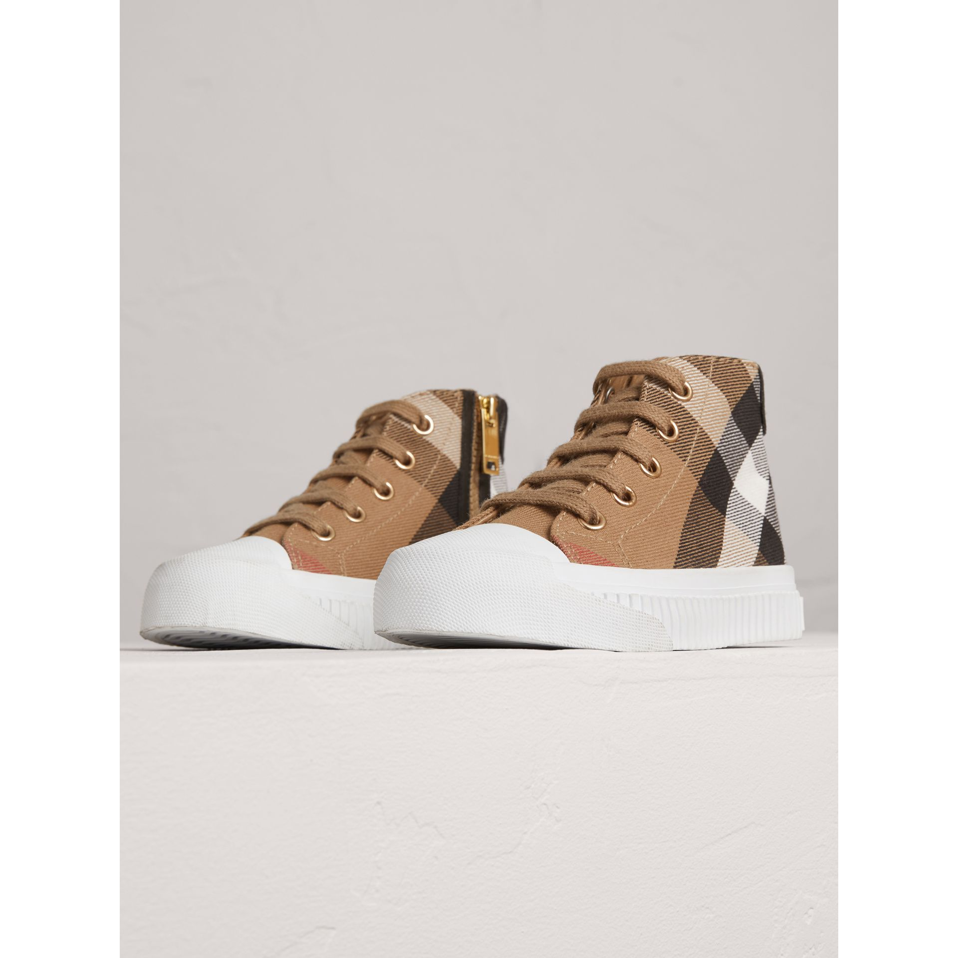 House Check and Leather High-top Sneakers in Classic/optic White | Burberry United Kingdom - gallery image 3