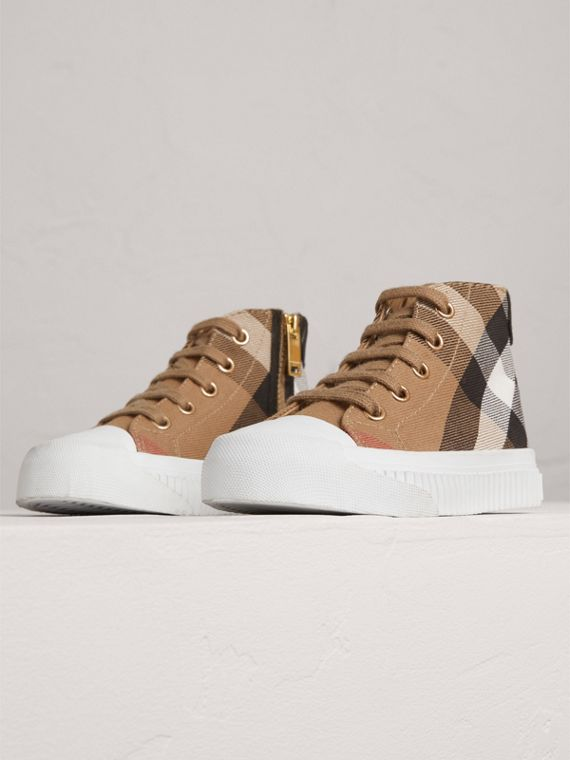 House Check and Leather High-top Trainers in Classic/optic White | Burberry - cell image 3