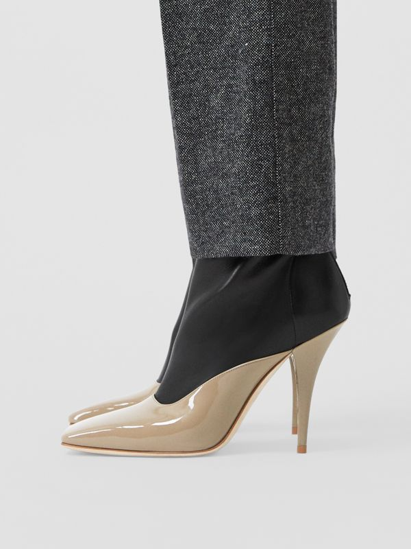 Two-tone Lambskin and Patent Leather Ankle Boots in Dark Honey/black - Women | Burberry - cell image 2