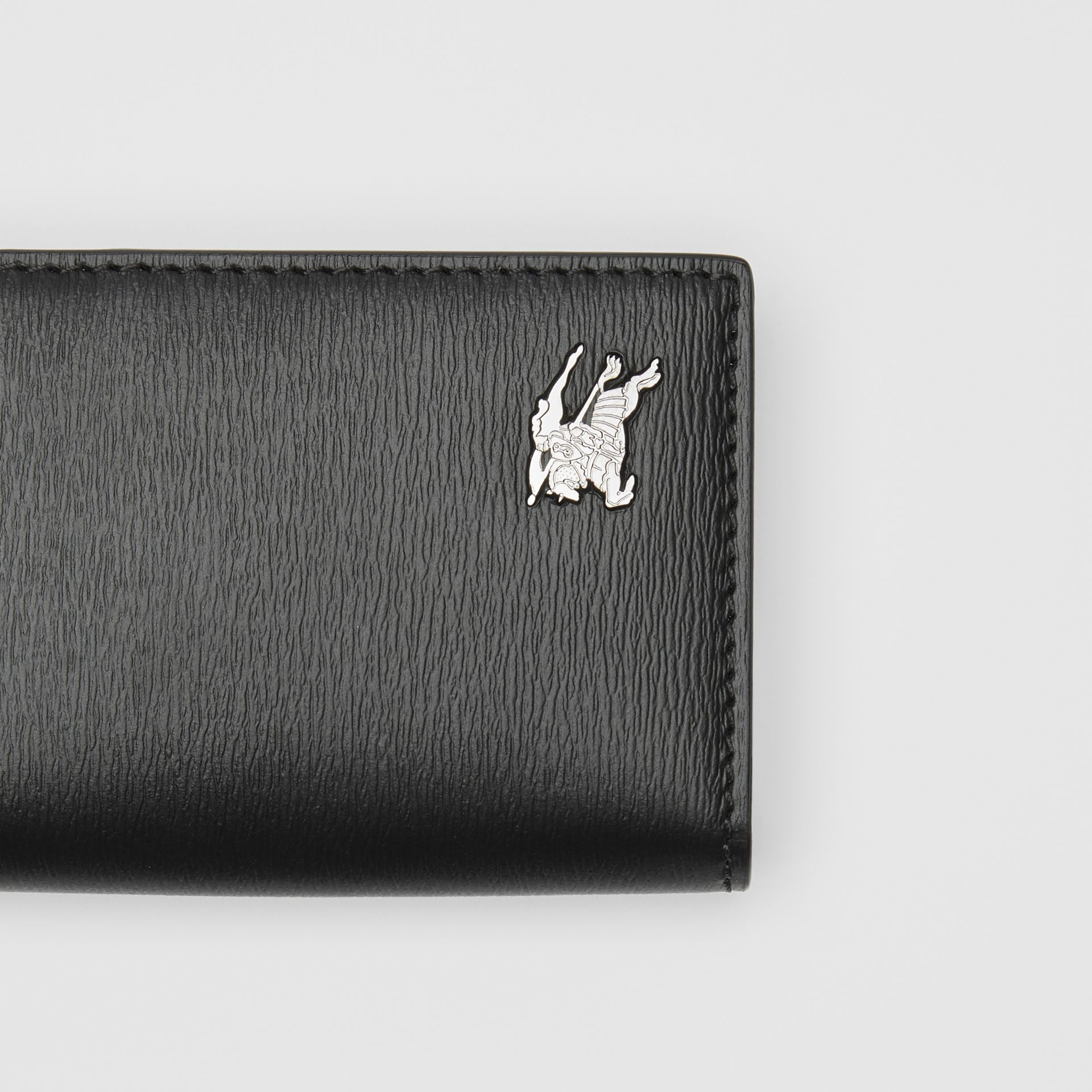 Grainy Leather Folding Card Case in Black - Men | Burberry Canada - gallery image 1