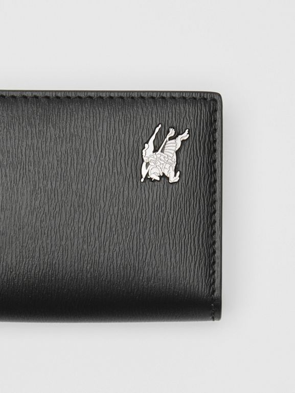 Grainy Leather Folding Card Case in Black - Men | Burberry - cell image 1