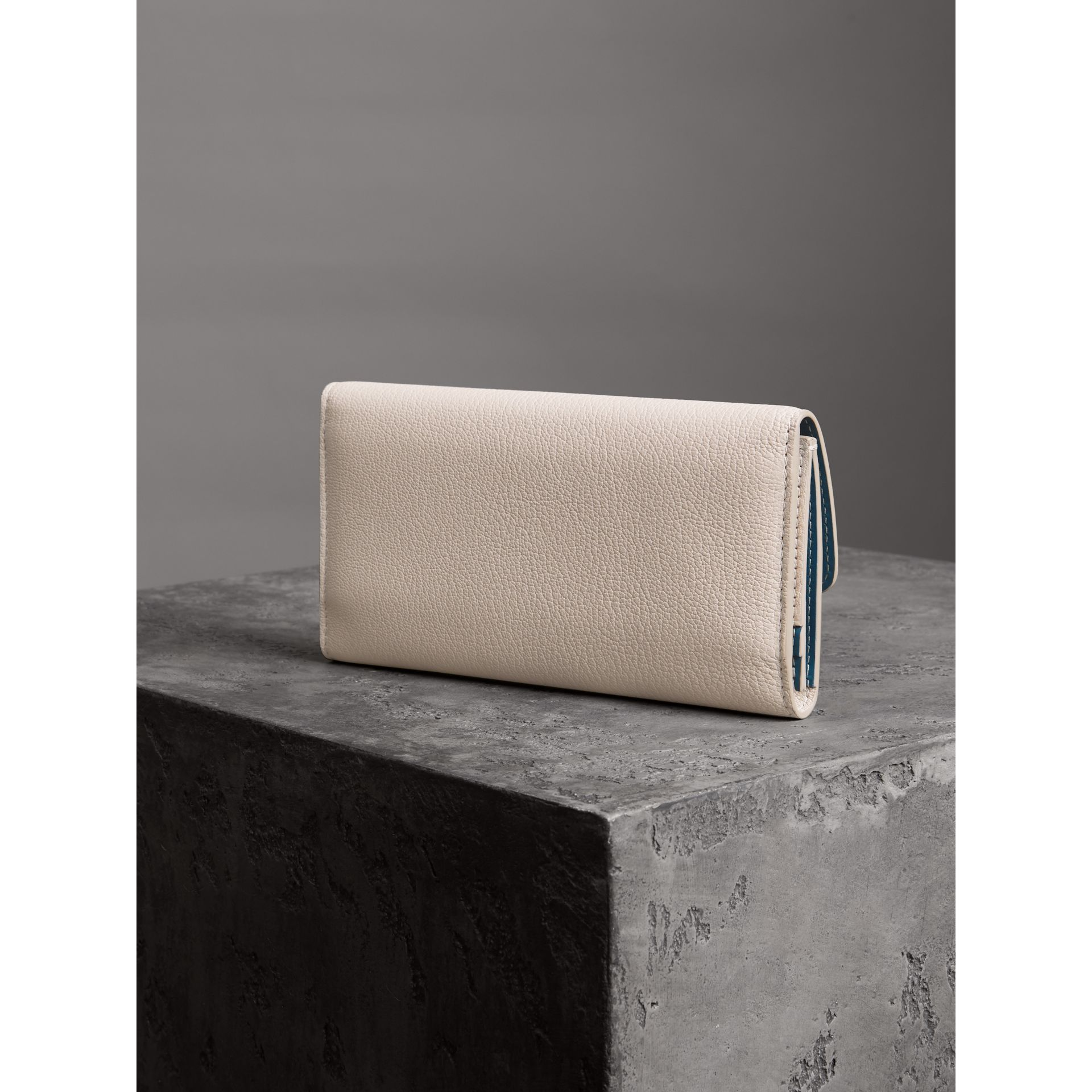 D-ring Grainy Leather Continental Wallet in Stone - Women | Burberry - gallery image 2