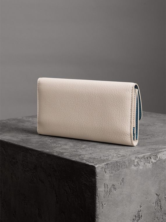 D-ring Grainy Leather Continental Wallet in Stone - Women | Burberry - cell image 2