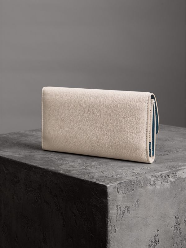 D-ring Grainy Leather Continental Wallet in Stone - Women | Burberry Singapore - cell image 2