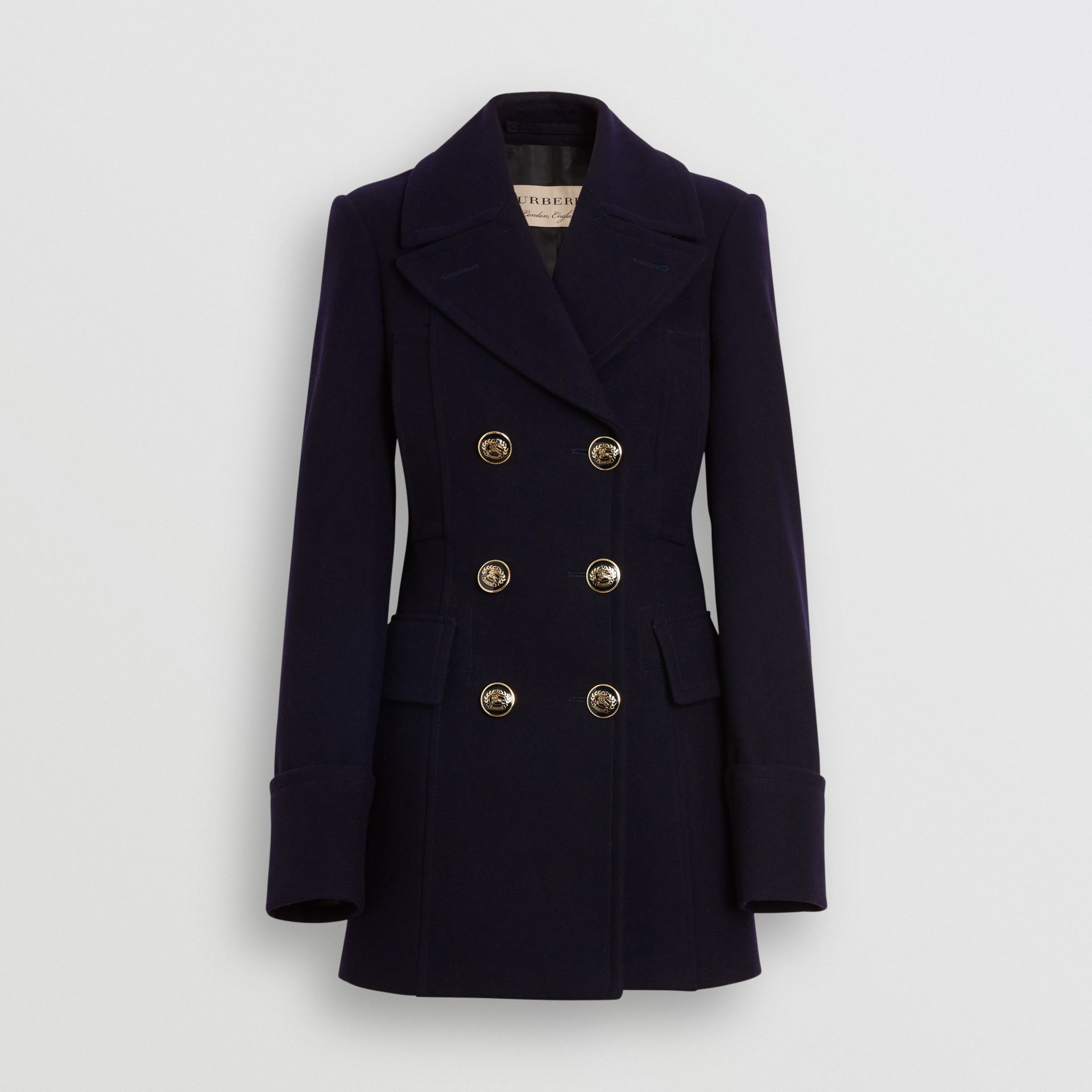 Doeskin Wool Tailored Pea Coat in Navy - Women | Burberry - gallery image 1
