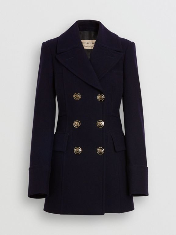 Doeskin Wool Tailored Pea Coat in Navy - Women | Burberry United States - cell image 1