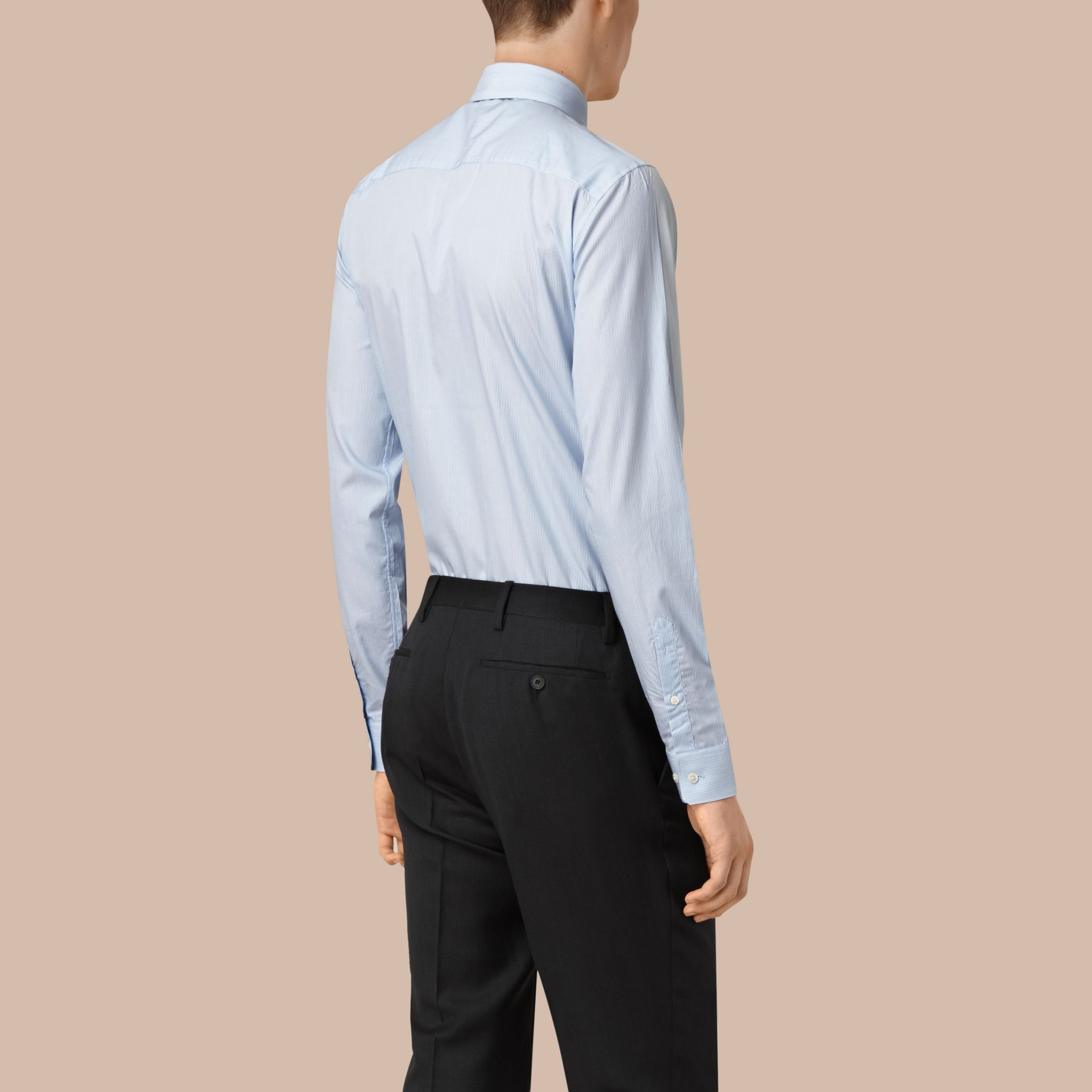 Slim Fit Striped Cotton Poplin Shirt in City Blue - Men | Burberry - gallery image 3