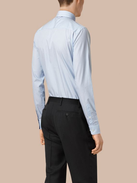 Slim Fit Striped Cotton Poplin Shirt City Blue - cell image 2