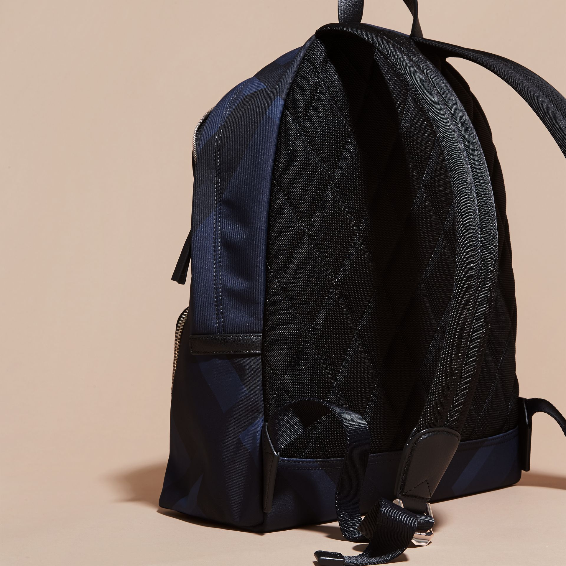 Navy check Leather Trim Check Print Backpack - gallery image 4