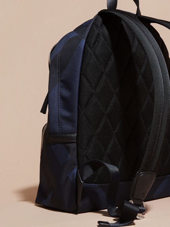 Navy check Leather Trim Check Print Backpack - cell image 3