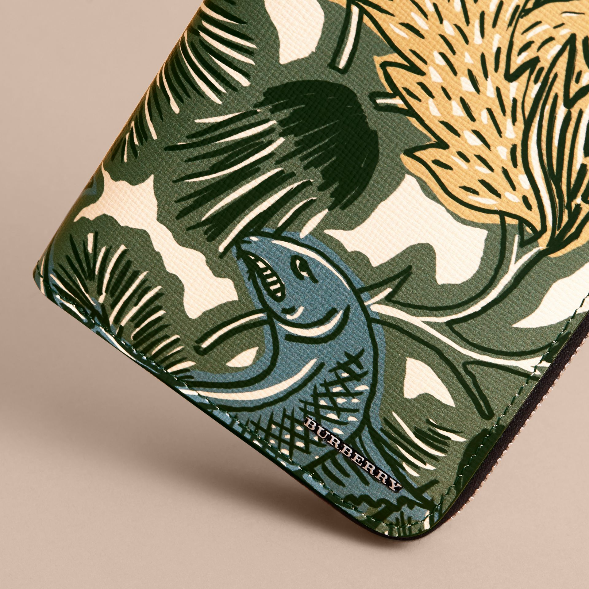 Beasts Print Leather Ziparound Wallet in Sage Green - Men | Burberry - gallery image 2