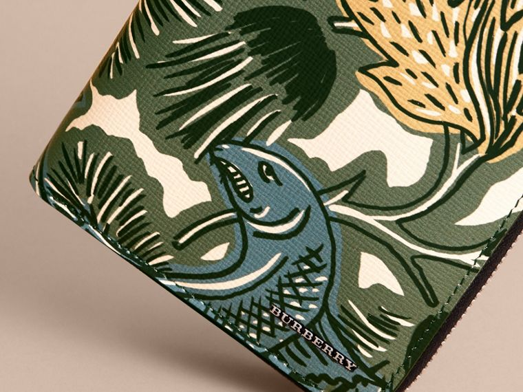 Beasts Print Leather Ziparound Wallet in Sage Green - Men | Burberry - cell image 1