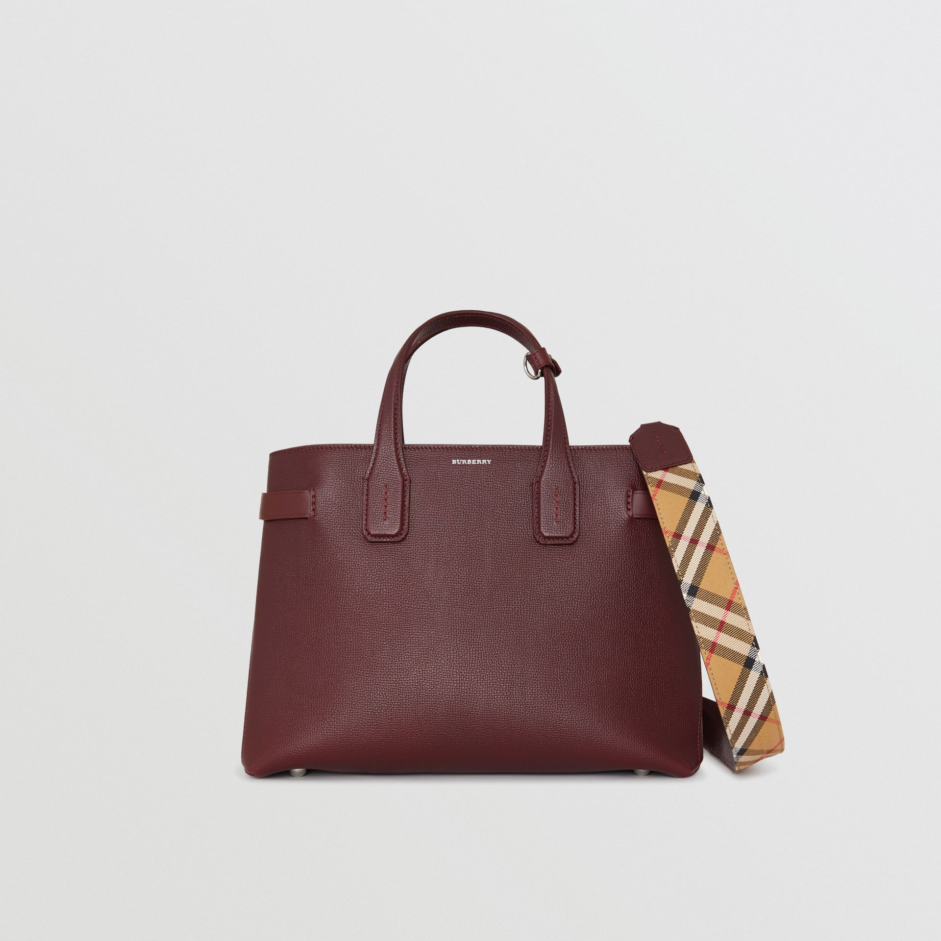 The Medium Banner in Leather and Vintage Check in Mahogany Red - Women | Burberry - gallery image 0