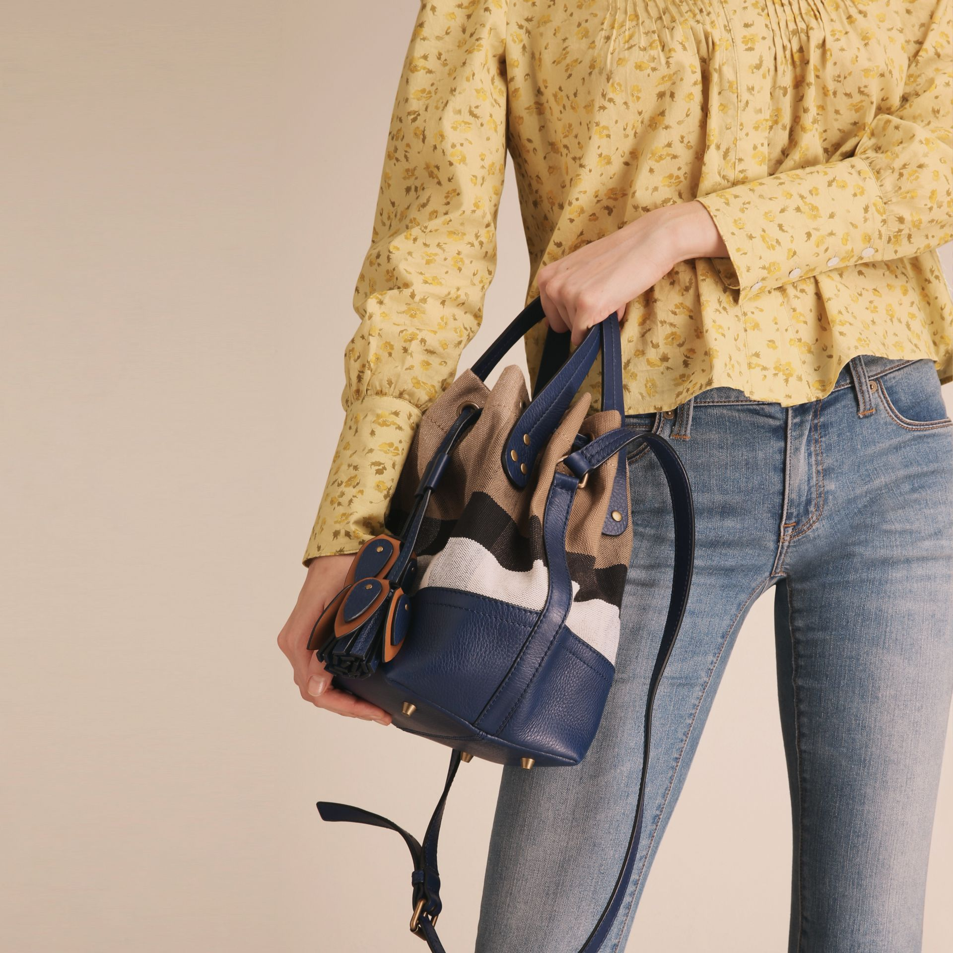 Small Canvas Check and Leather Bucket Bag in Brilliant Navy - Women | Burberry - gallery image 3