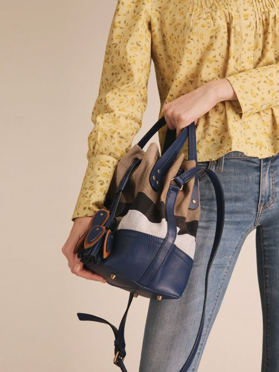 Small Canvas Check and Leather Bucket Bag in Brilliant Navy - Women | Burberry United States - cell image 2