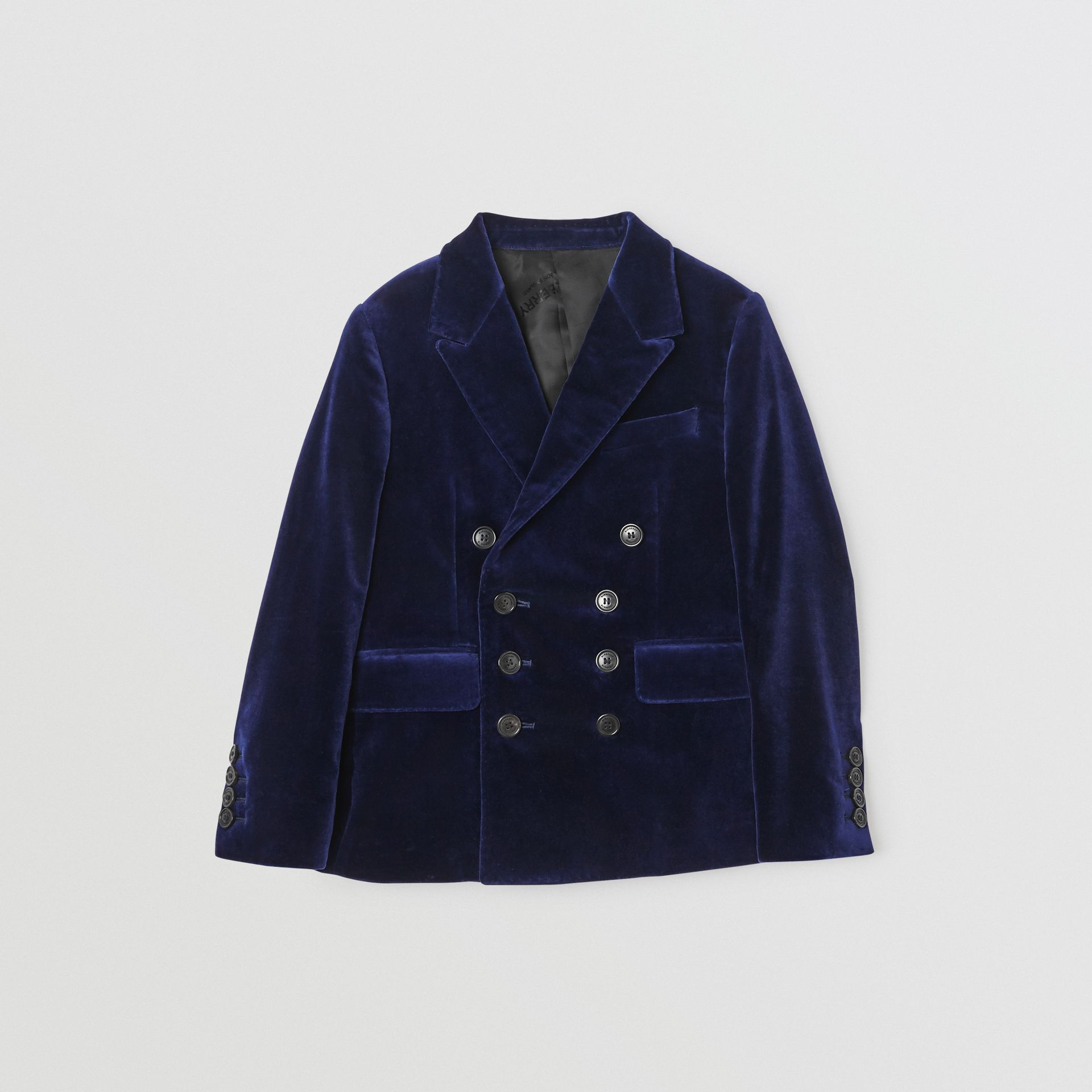 Velvet Double-breasted Blazer in Midnight Blue | Burberry Canada - gallery image 0